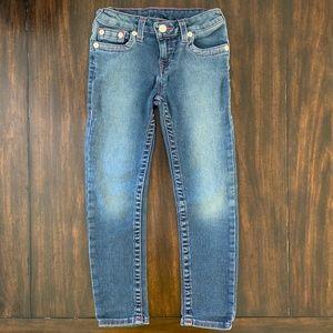 True Religion girls skinny jeans w/pink stitching